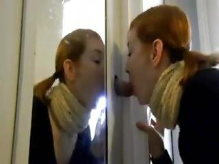 Redhead With Glasses Firedwnbelow Sucks A Cock At A Homemade Gloryhole