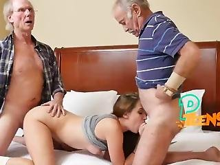 Old Grandpas Tag Team A Sexy Teen Babe