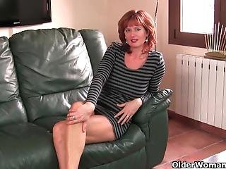 anglaise, gode, mature, milf, rousse
