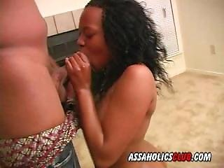 Pretty Ebony Girl Gives A Blowjob And Rides