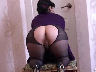 Brunette With Hairy By A Pussy In Nylon Pantyhose Passionately Masturbates