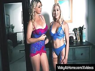 Busty Blonde Milf Vicky Vette Uses Hitachi With Cristi Ann
