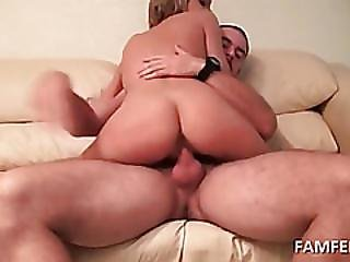 Perky Titted Blonde Jumping Dick On The Sofa