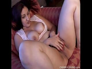 Cute Chubby Brunette Loves To Play With Her Body During A Sexy Smoke Break