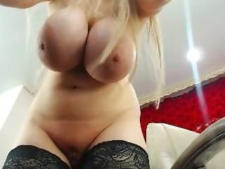 tette grandi, bionda, coniglietta, masturbazione, da sola, webcam