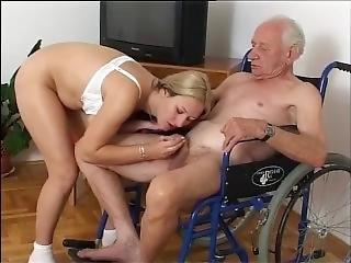 Nursing Home Blonde Sexy Nurse And Very Old Grandpa