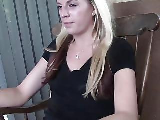 Blondie In Hotpants Enjoys A Cigarette On Her Vernada