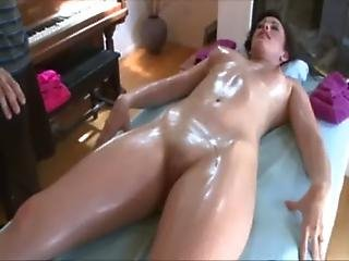 Dirty masseur works the stress out of her wet pussy