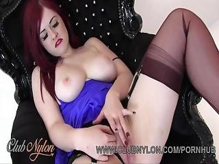 Redhead With Huge Natural Tits Pulls Panties Aside To Tease Pussy In Nylons