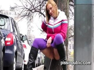 Desperate Girls Find A Hideaway In A Busy City To Squat Down And Pee