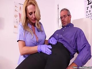 Looks Like Criss Overdosed On Viagra, Luckily Big Boob Nurse Billy Bardot Handjobs Him