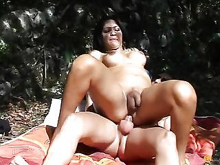 Anal Sex With A Brunette In Nature