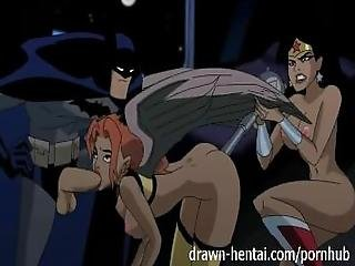 Justice League Hentai   Two Chicks For Batman Dick