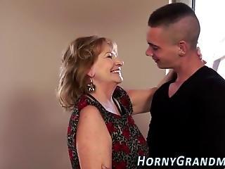 Busty Drilled Grandma Gargles On Cum After Blowjob