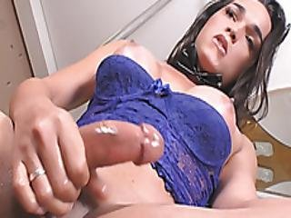 Hot Brazilian Shemale Lauynnia Jerking Off Her Big Boner