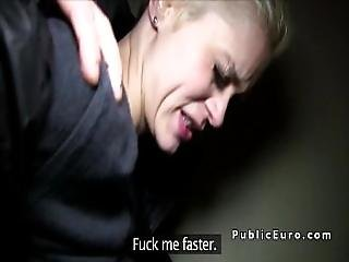 Euro Blonde Paid For Public Blowjob