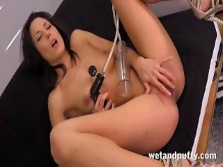 Sex Toys Stunning Black Haired Alexa Tomas Orgasms With Black Dildo