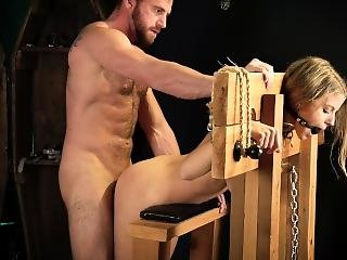 Flogged And Fucked In Stockade While Ball-gagged