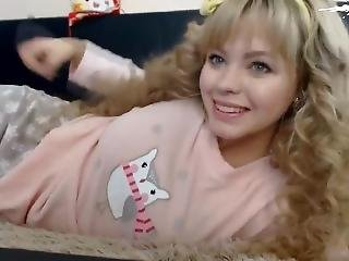 Cute Amateur Teen With Blonde Curly Hair Is Cumming And Squirting On Webcam