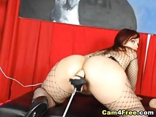Fishnet Babe Fucked By Dildo Fucking Machine Hd