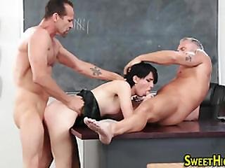 Face Spunked Teen 3some
