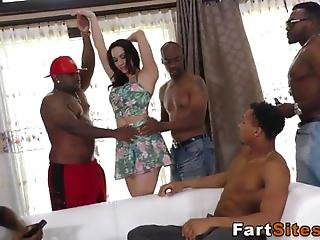 Gangbanged Babe Rides And Sucks Big Black Cocks And Gets Facial