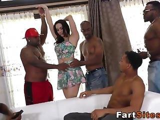 Gangbanged Babe Rides And Sucks Big Black Cocks And Gets Facial