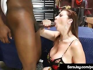Busty Brunette Milf Sara Jay Bangs & Blows Black Mechanic!