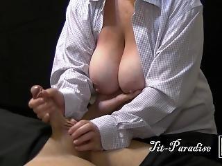 Quick Great Handjob By Big Natural Tits Milf - 4k Handjob Cumshot