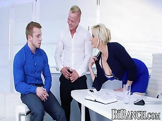 Buffed Office Stud Assfucked While Blown By Super Hot Babe