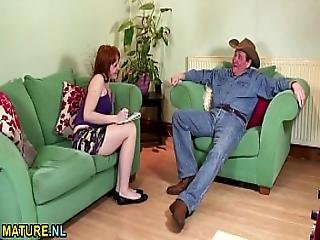 Brunette Teen Makes A Mature Man Cum