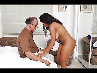 Busty Ebony Fucked By White Grandpa
