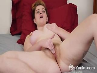 Chesty Megan Masturbating Her Hairy Cunt
