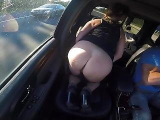Tanned Milf Playing With Shaved Pussy Showing Off Round Ass In Car
