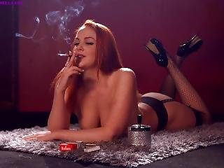 Kara Carter Smoking Strong Marlboro Reds 100s Topless Using Holder