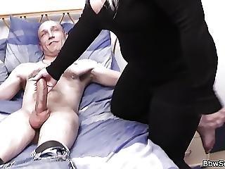 Busty Blonde Bbw Helps Him Cum
