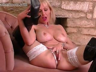 Blonde Milf Big Tits Fingers Wet Pussy In Slutty Leather Boots And Fishnets