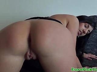 Pierced Eurobabe Loves Riding Cock