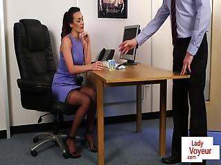 Voyeur Secretary Humiliating Tugging Sub