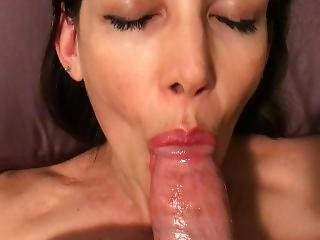 Hot Milf Laying On Her Back And Giving The Best Blowjob Ever Cim Swallow