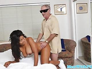 Ebony Teen Facialized By Old Man Cock