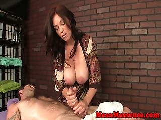 Big Titted Dominant Masseuse Tugging Client