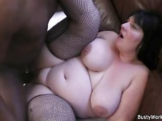 Bbw in fishnets swallows big black cock