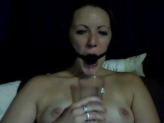 Ballgagged And Drooling Into A Cup