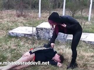 Mistress Red Devil Extreme Ballbusting In The Park