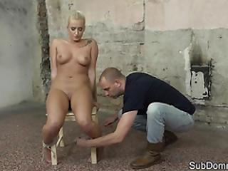 Ballgagged Slave Babe Gets Toyed By Maledom