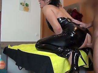 Latex Milf Gagged, Retained And Fuck In The Ass