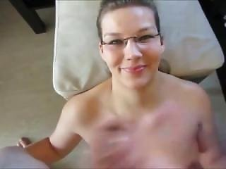 Hot Chick With Glasses Takes A Huge Facial