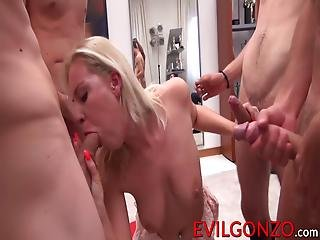 Cute Blonde Bitch Gets Her Mouth Stuffed With Fat Pricks