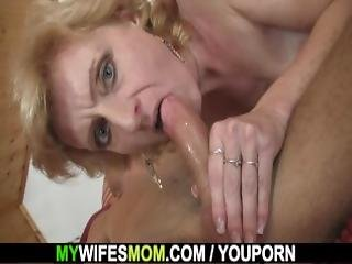 Blonde Mom In Law Is Happy Riding My Horny Cock